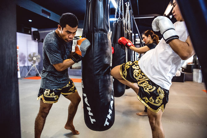 muay thai bag work